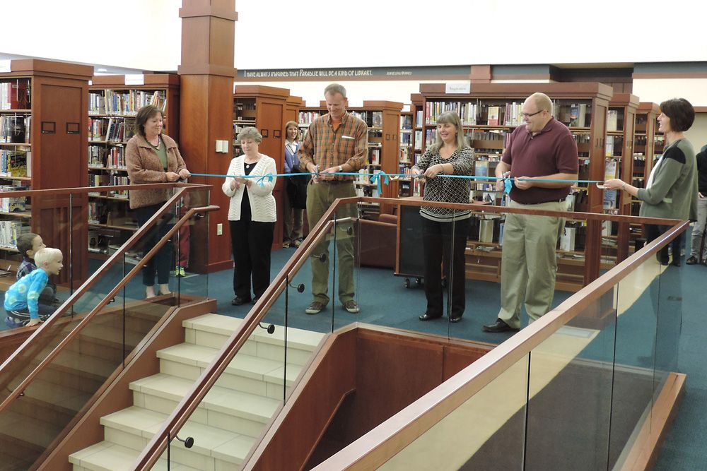 Library lower level ribbon cutting